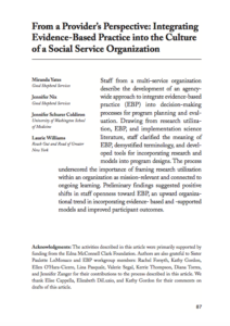 From a Provider's Perspective: Integrating Evidence-Based Practice Into the Culture of a Social Service Organization